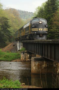 High quality photograph of Western Maryland Railway EMD # WM 67 at Cheat Bridge, West Virginia, USA. Train Car, Train Tracks, Train Rides, Railroad Bridge, Railroad Tracks, Railroad Pictures, Old Trains, Hobby Trains, Railroad Photography