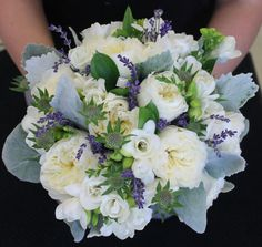 Bridesmaid's Bouquet Composed With White Tuberose, White English Garden Roses, Lavender, & Dusty Miller*******************************
