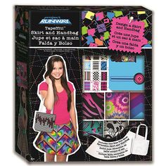 Design your own one of a kind skirt and handbag using the ultra cool and brightly colored patterns of Tapeffiti and show them off to all of your friends! The Project Runway Tapeffiti Handbag and Skirt Kit includes 9 mini rolls of Tapeffiti, each with 9-feet of tape, the tape dispenser and cutting tool, 2 rolls of X-Tra Wide Tapeffiti each with 10 yards of tape, one plain wrap skirt, one plain handbag, and instructions.