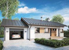 Projekt domu Roberto II Sz 83,20 m² - koszt budowy - EXTRADOM Atrium, Small House Design, Exterior Design, My House, Garage Doors, Mansions, House Styles, Outdoor Decor, Studio