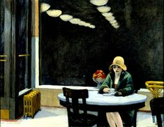 Most people like Edward Hopper's Nighthawks best, but Automat is my personal favorite. A woman drinking coffee wearing just one glove in some bar at night. What an atmosphere Hopper created right here. Just great.