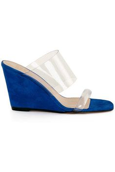 Same day shipping on MNZ shoes. Slip on wedge mule, banded across the vamp and toes in a transparent flexible plastic. Blue suede leather upper with a leather sole. Wedge Mules, The Vamps, Blue Suede, Olympia, Suede Leather, Mari Giudicelli, Slip On, Wedges, Pumps