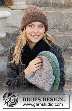 Winter Smiles Hat / DROPS 214-67 - Free knitting patterns by DROPS Design Beanie Knitting Patterns Free, Knitting Kits, Beanie Pattern, Knitting Designs, Knit Patterns, Free Knitting, Sombrero Hipster, Hipster Hat, Drops Design