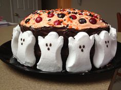 Halloween cake with peeps, m  and sprinkles!