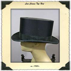 1930s Low Crown Satin Top Hat
