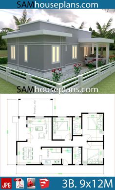 House Plans with 3 Bedrooms - Sam House Plans Sims House Plans, New House Plans, Dream House Plans, House Floor Plans, Little House Plans, Small Modern House Plans, Little Houses, Modern Bungalow House Design, Simple House Design
