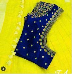 (via Navya Gogineni, Blouse designs) Pattu Saree Blouse Designs, Simple Blouse Designs, Stylish Blouse Design, Fancy Blouse Designs, Bridal Blouse Designs, Blouse Neck Designs, Maggam Work Designs, Designer Blouse Patterns, Blouse Models