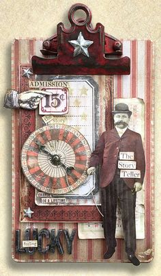 It is a quarter to four on Sunday afternoon and I was meeting up with Tim in the Ideaology booth, before he needs to be at Ranger for... Mixed Media Journal, Mixed Media Collage, Collage Art, Clipboard Art, Altered Canvas, Altered Art, Mixed Media Boxes, Steampunk Crafts, Art Journal Techniques