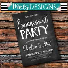 Any Color COUPLES ENGAGEMENT WEDDING Bridal Shower Chalkboard Baby Black White Coral Mint I Do Bbq Gold Brunch Sprinkle Birthday Invitation