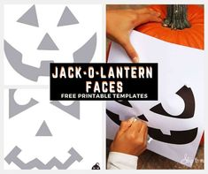 Jack O Lantern Faces For Pumpkin Carving Printable Pumpkin Carving Patterns, Pumpkin Carving Stencils Free, Halloween Pumpkins, Halloween Fun, Halloween Decorations, Jack O Lantern Faces, Pumpkin Jack, Cool Diy Projects, Activities For Kids