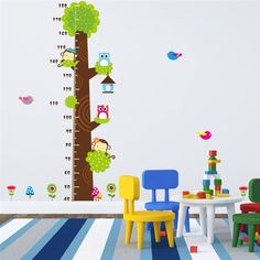Measure Kid Height Wall Stickers for Kids Room Wall Decals Sticker Cute Animals Carton vinyl stickers home decor