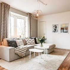 I love the accent colors on the wall as well as the accent pillows. For Suite 108 Living Room 2017, Bungalow Living Rooms, Living Room Redo, Home Living Room, Apartment Living, Living Spaces, Sweet Home, Condo Interior, Sofa Styling