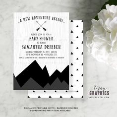 Mountain Greatest Adventure Black and White Baby Shower Printable Invitation. Gender Neutral. It's a Boy. Girl. Twins. By Tipsy Graphics by MTipsy on Etsy Other Colors available!