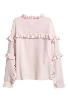Silk Frilled Blouse Silk Frilled Blouse Premium Quality Blouse In Mulberry Silk With Frills A Small Frilled Collar Covered Buttons Down The Front And Long Sleeves With Buttoned Cuffs Silk Frilled Blouse Light Pink H M Ca 3 White Fashion, Boho Fashion, Hijab Fashion, Fashion Dresses, Casual Chic Outfits, Sleeve Designs, Blouse Designs, Frill Blouse, Leotard Fashion