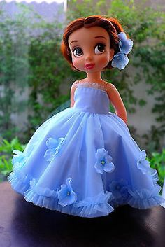 "Flower princess dress (blue) for AMT16"", Disney animator doll clothes"