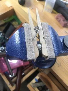 If you need a tiny bench pin, or a pearl vise, clothes pins are a jeweler's friend! Bead Jewellery, Metal Jewelry, Beaded Jewelry, Jewellery Workshop, Jewellers Bench, Crafts For Seniors, Jewelry Making Tutorials, Dremel Projects, Metal Welding