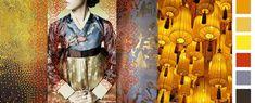 Stylink colour trends 2016 Yellow Lantern China in vroegere tijden waar zijden jacquard geweven stoffen, gouden prints en gele lantaarns de inspiratie vormen voor het kleurpalet met hoofdkleur oker, goud en zonnig geel in combinatie met vergrijsd lila, wengé bruin en Chinees lakrood. De nadruk ligt op de verfijning van materiaal, techniek en ambacht.