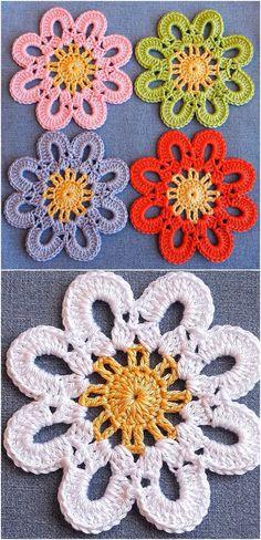 Crochet Easy Flower For Beginners – We Love Crochet – Tığ desenleri – Decke Crochet Bird Patterns, Crochet Birds, Love Crochet, Knitting Patterns Free, Double Crochet, Crochet Flowers, Crochet Hooks, Easy Knitting, Start Knitting