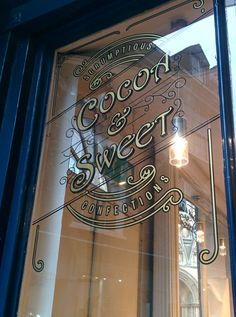 Cocoa and Sweet logo design and window signs by Paul Banks Signwriting and Design. #Signwriter #Signwriting