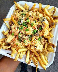 Chicken and Shrimp Alfredo Fries
