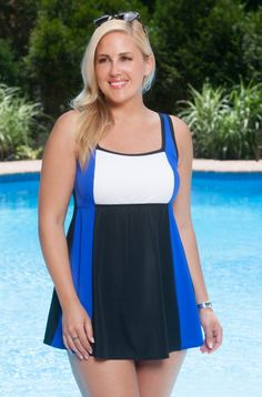 62f68f1fe700a Plus Size Swimwear Always For Me In Control Colorblock Swimdress Swimwear  2015