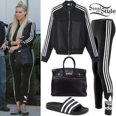 Khloe Kardashian was spotted arriving at the studio in Van Nuys wearing a Superstar Berlin Track Jacket (Sold Out), 3-Stripes Leggings (£25.00) and Adilette Slide Sandals ($29.95) all by Adidas Originals, with an Hermès Birkin Tote Bag ($32,930.00 – preowned).