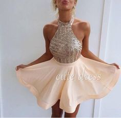Cute A-line chiffon sequin short prom dress for teens, homecoming dress