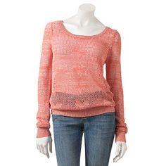 Candie's Crochet Hearts Lurex Sweater - Juniors