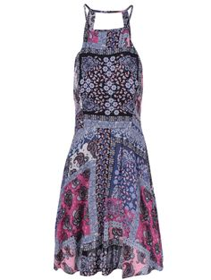 Blue and pink patchwork boho dress #festival #style