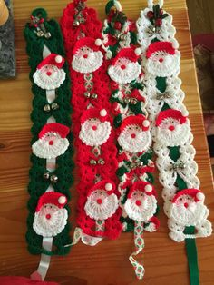 Vintage Crocheted Santa Claus Wall Hangings by OregonTradingPost
