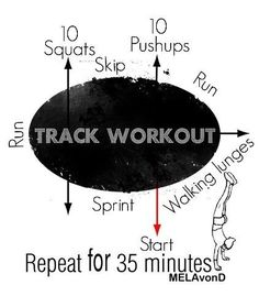 Track workout – wow now this looks fun…. it should add 25 crunches before you … Track workout – wow now this looks fun…. it should add 25 crunches before you restart Sprint Workout, Track Workout, Running Workouts, At Home Workouts, Running Track, Running Tips, Circuit Training, Marathon Training, Speed Training
