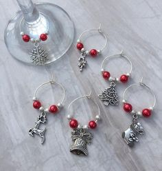 Christmas wine glass charms, set of 6 - table decor, festive charms, gift for wine lover, party accessories Wine Bottle Charms, Wine Bottle Art, Christmas Wine, Silver Christmas, Christmas Deco, Christmas Themes, Wine Craft, Gifts For Wine Lovers, Silver Charms
