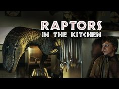 Behind the scenes of JURASSIC PARK. Raptors in the Kitchen Rehearsal. Special Effects by Stan Winston Studio.