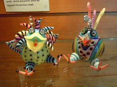 "lampwork+birds | incredible glass lampwork creations. These two, titled ""Stickle-bird ..."