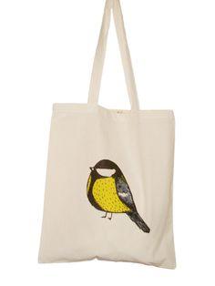 Reusable Shopping Bag Bird  Royal Tit Eco Cotton Tote by zyzanna, £10.00