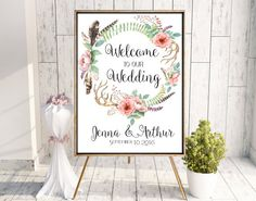 Welcome wedding sign printable. Boho, romantic flowers, feathers and deer antlers wedding sign. Reception entrance sign. Digital. Roses