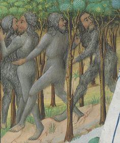 Bibliothèque nationale de France, Français 9342, detail of f158v (wild men). Jean Wauquelin, Histoire d'Alexandre.  Bruges, mid-15th century