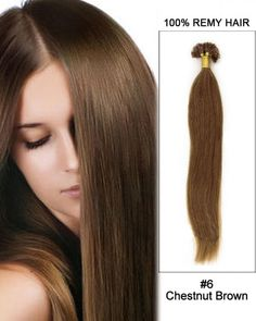 Wholesale 18'-24'  #6 Chestnut Brown Straight 100% Remy Hair Human Nail Tip U Tip Hair Extensions