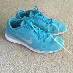 Nike Free TR 5 ID Custom Tiffany Blue Women's training shoe in size 7.  Retails for $145 from Nike ID. Customized to be silver and Tiffany Blue in color. Light weight mesh with rubber sole. Brand new shoes with no box. No trades! Nike Shoes Athletic Shoes