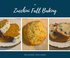 Zucchini herb & cheese biscuits, Zucchini pumpkin bread and Zucchini with blueberry & ginger bread. All three are delicious fall must-have recipes! Fresh Vegetables, Veggies, Cheese Biscuits, Ginger Bread, Zucchini Bread, Fall Baking, Pumpkin Bread, Herb, Banana Bread