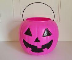 Halloween Pink Plastic Pumpkin Candy Tote  General Foam Norfolk Va