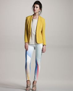 There is something so Gem & the Holograms about these Rag & Bone Goetz-Print leggings. And we dig it.   The yellow tuxedo jacket is pretty rad, too.