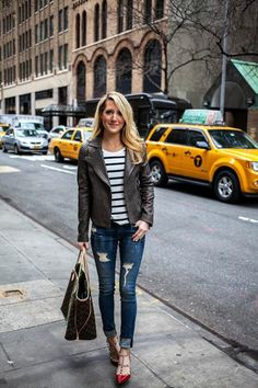 Leather moto jacket, skinny jeans and an over sized bag make city visits stylishly breezy. Get inspired by Younger fashion on TV Land. Catch the latest episode at http://www.tvland.com/shows/younger.