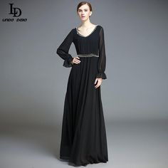 Women's Long Sleeve Sexy V Neck Vintage Black Floor Length Noble Gorgeous Beading Long Dress $86.12   => Save up to 60% and Free Shipping => Order Now! #fashion #woman #shop #diy  http://www.clothesdeals.net/product/ld-linda-della-womens-long-sleeve-sexy-v-neck-vintage-black-floor-length-noble-gorgeous-beading-long-dress-party-dresses