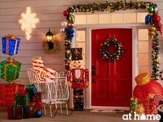 Bring whimsical fairytales and visions of sugarplums to life by adding sweet, seasonal outdoor accents and jolly décor to your front porch.