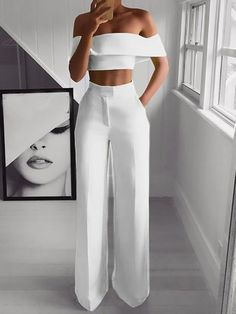 Crop Top Outfits, Mode Outfits, Cute Casual Outfits, Stylish Outfits, Girl Outfits, Two Piece Outfits Pants, All White Party Outfits, Crop Top Dress, Glamorous Outfits