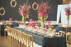 Wedding Reception Tables & Venue. Navy-Gold-Pink-Tablescape
