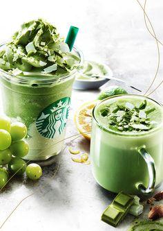 多彩なフルーツやナッツをブレンドし、抹茶の新しい魅力を引き出しました。 Green Tea Drinks, Fruit Drinks, Summer Drinks, Fruit Dessert, Fall Drinks, Healthy Starbucks, Starbucks Drinks, Starbucks Coffee, Fruit Recipes