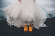 Snow boots & a muddy Monique Lhullier   Alexandra Roberts Photography