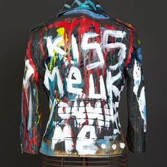 "Domingo Zapata x Superdry Original Painted ""Kiss Me"" Women's Leather Jacket  Acrylic on Leather Women's size Small"
